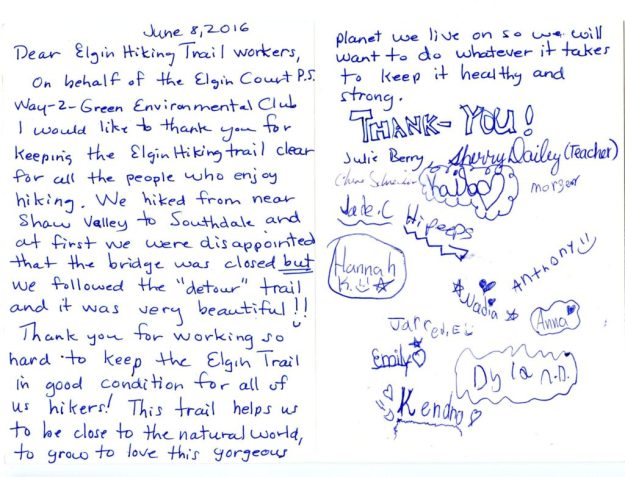 Card from Elgin Court Public School Way-2-Green Environmental Club.