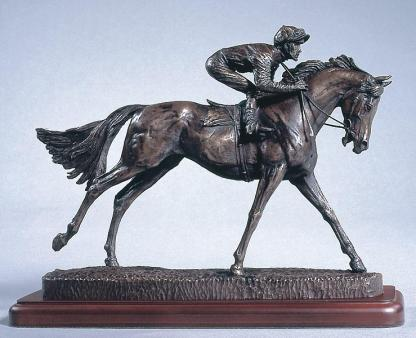 Figurine en bronze de cheval de course