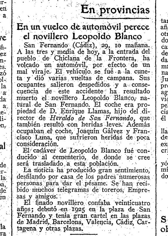 Noticia del accidente del Novillero Leopoldo Blanco