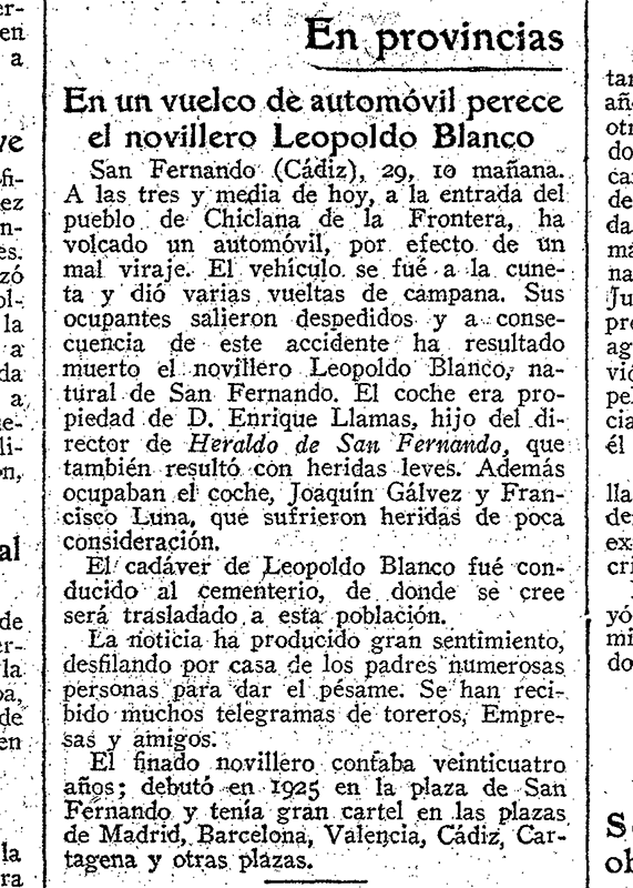 Noticia del accidente del Novillero Leopoldo Blanco