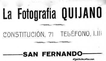 Anuncio Fotografía Quijano. Fotógrafos de La Isla