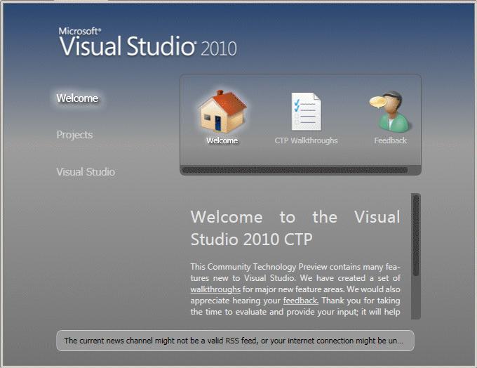 Figura 1. Página de inicio de Visual Studio 2010