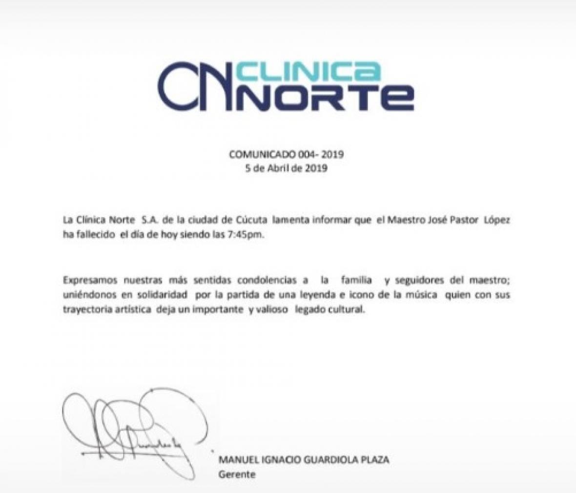 El comunicado oficial de la clínica sobre la muerte de Pastor López.