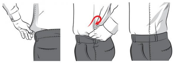 prender camisa social calça