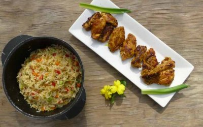 Pollo caramelizado a las mil especias #mango #sriracha #sésamo