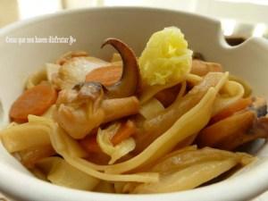Noddles de col china y choco marinado con habanero
