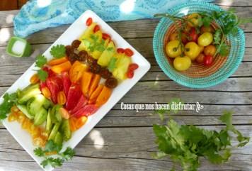 Ensalada tropical y preparación de la cata de #tomatesconsabor