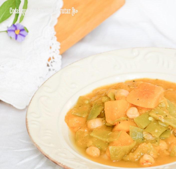 Berza vegana de calabaza y judías verdes