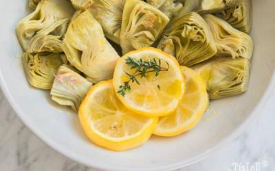 Receta de alcachofas con cítricos y tomillo