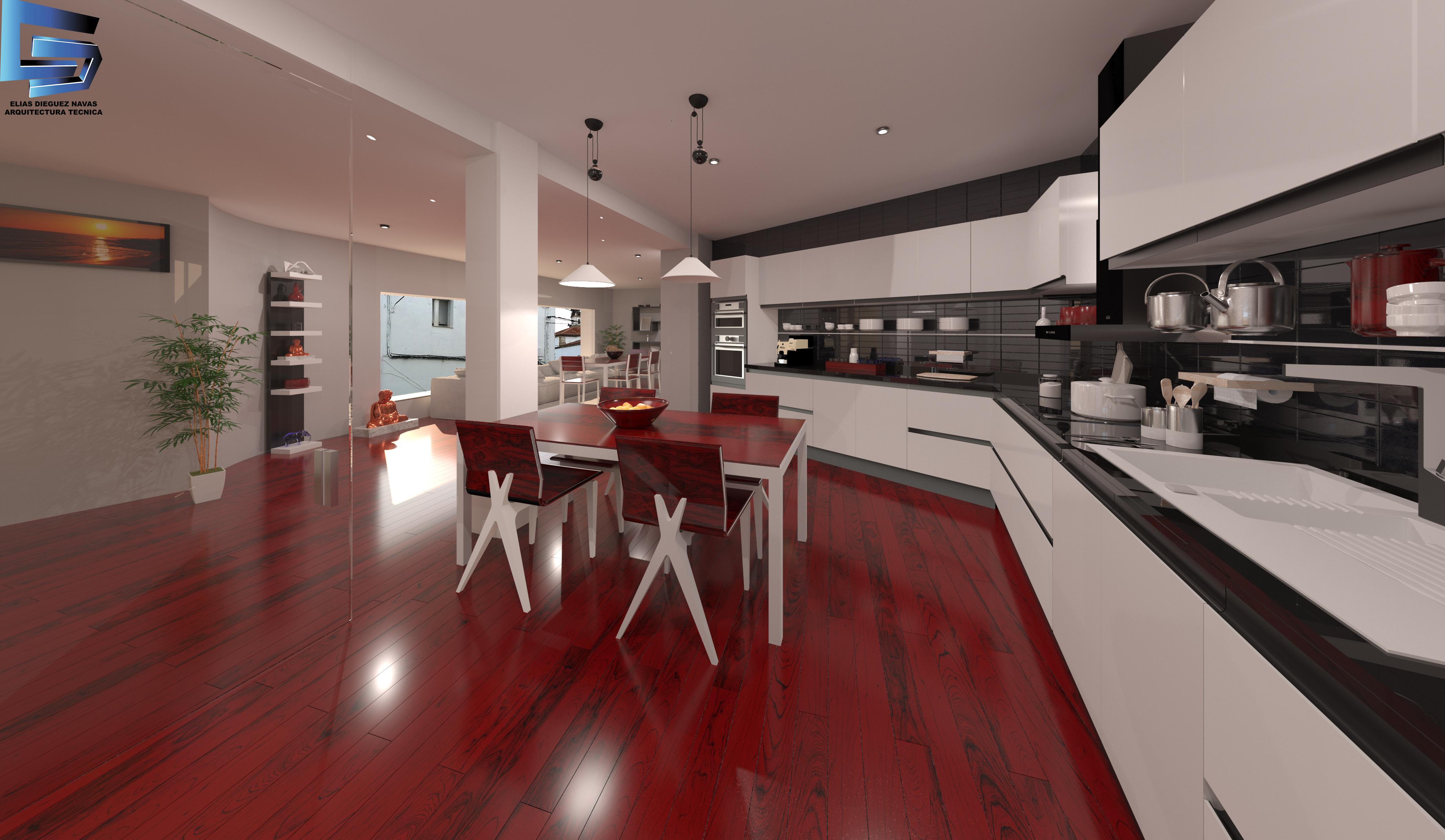 Infografía vivienda. Vista del interior de la cocina