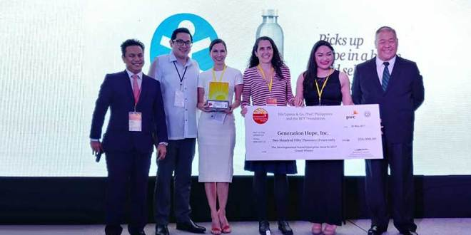 'Hope in a Bottle' wins the Developmental Social Enterprise Awards 2017