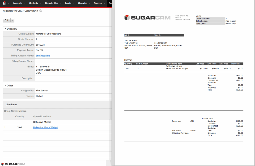 SugarCRM Integrations - Quotes