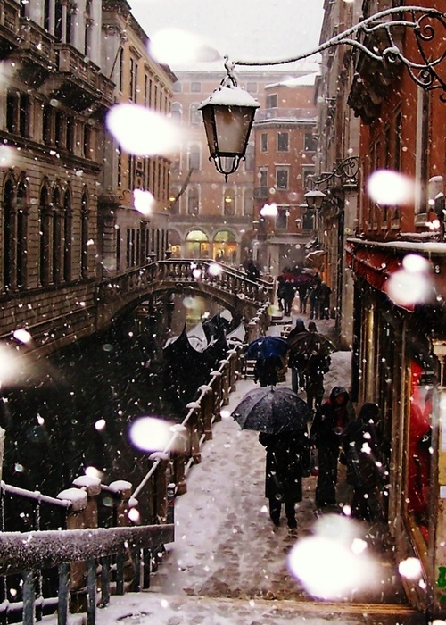 Snowy Night, Venice, Italy