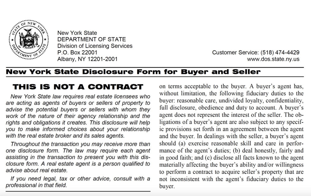 Agency Disclosure Form in New York State
