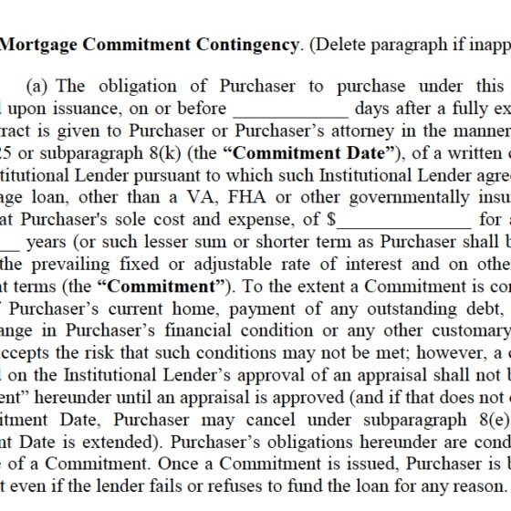 What is a Mortgage Commitment Contingency Clause?