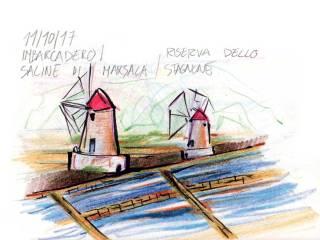 Mulini della Riserva dello Stagnone, disegno di Luca Braidotti