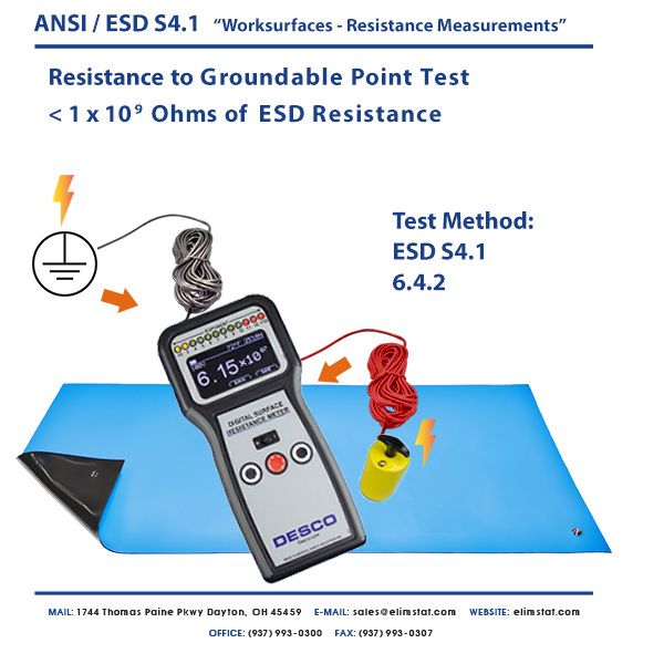 Resistance to Ground Measurement of ESD Mat with Desco™ ESD Resistivity Meter
