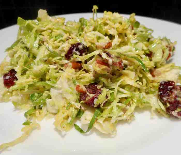 Shaved Brussels Sprouts Salad with Pecans and Cranberries