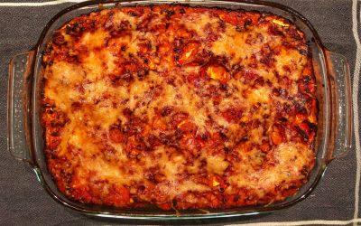 Lasagne med ricotta, pesto, zucchini och linser
