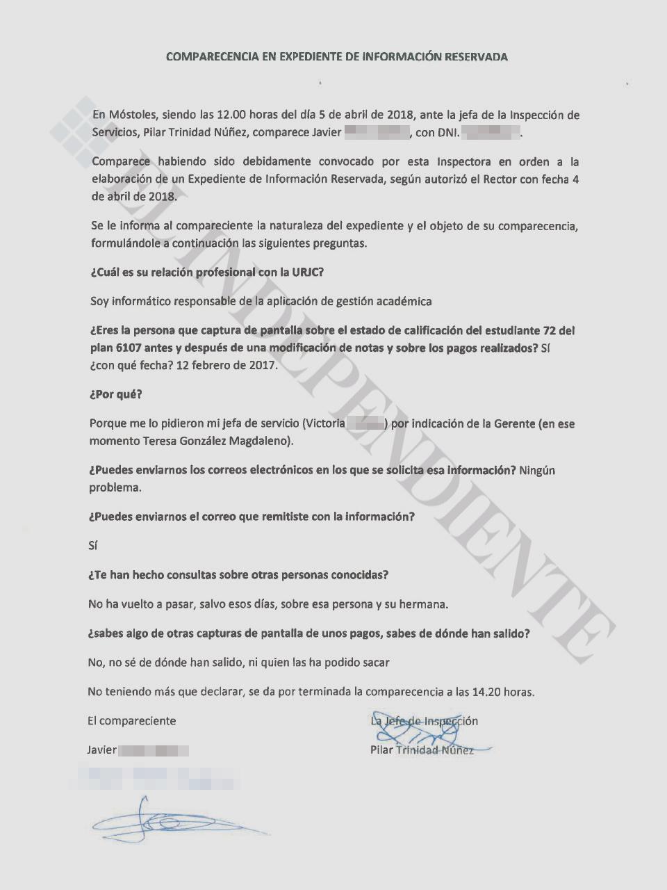 Acta de la declaración del informáticoJavier P.I. ante la jefa de Inspección de Servicios de la URJC.