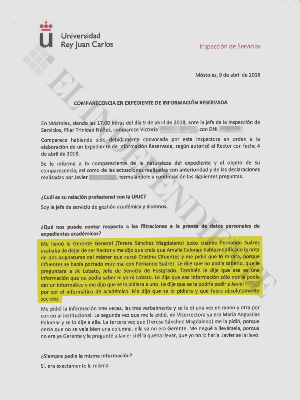 Acta de la comparecencia de la jefa de servicio deGestión Académica y Alumnos.