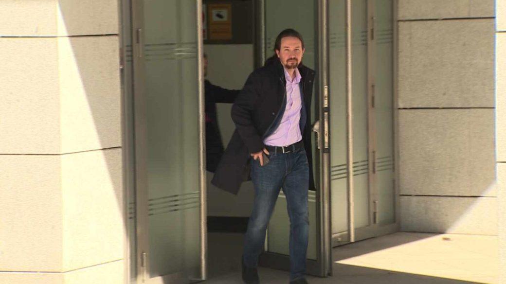 Pablo Iglesias sale de la Audiencia Nacional.