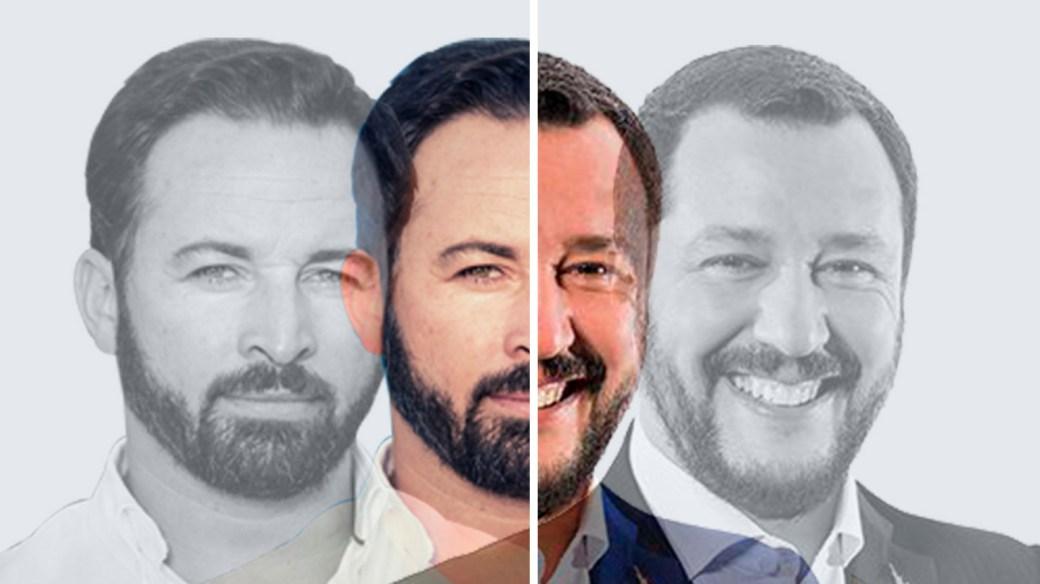 Matteo Salvini, ministro italiano del Interior, a la derecha, y Santiago Abascal, líder de Vox, a la izquierda.
