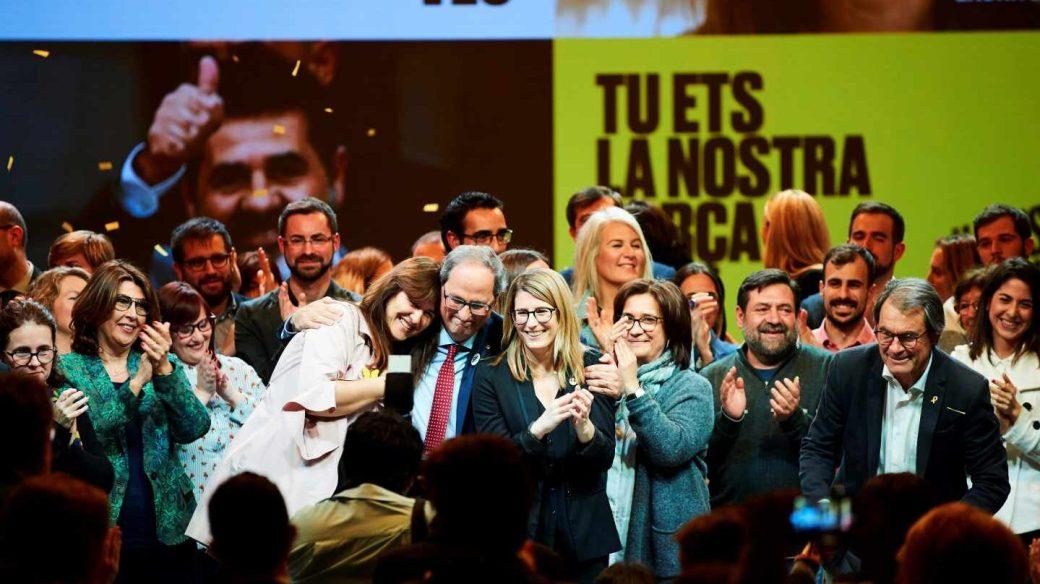 La candidata Laura Borràs, junto a Quim Torra en la apertura de campaña de Junts per Catalunya.