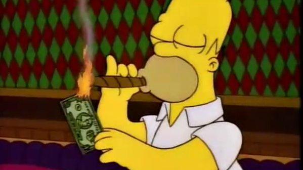 Homer-quema-dinero