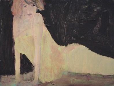 Frau in gelbem Oberteil, Öl auf Hartfaser, 30,5 x 40 cm, 2008