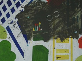 Landschaft - Rot, Grün, Gelb II, Öl auf Leinwand, 80 x 100 cm, 2008