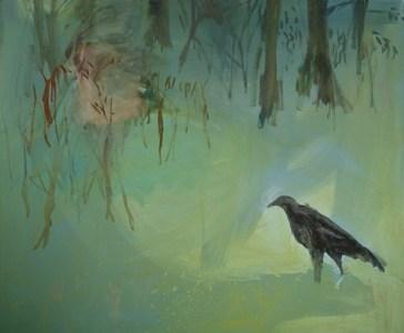Wald und Krähe, Öl auf Leinwand, 140 x 160 cm, 2006