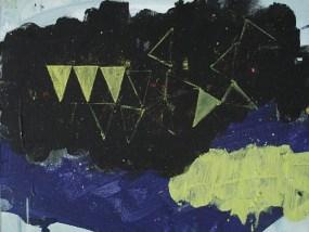 Gelber Busch und vier gelbe Dreiecke, Öl auf Hartfaser, 24 x 30 cm, 2008