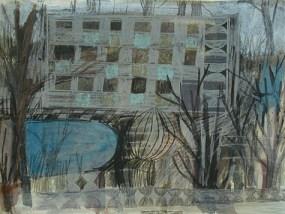Plattenbau und Teich, Mischtechnik auf Papier, 21 x 29,7 cm, 2012