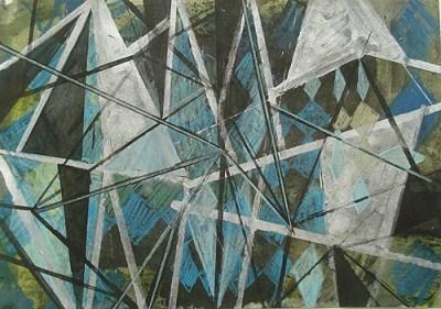 Feld und Bäume, Mischtechnik auf Papier, 21 x 29,7 cm, 2012