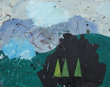 Drei Dreiecke und zwei Wolken, Öl auf Hartfaser, 24 x 30 cm, 2008