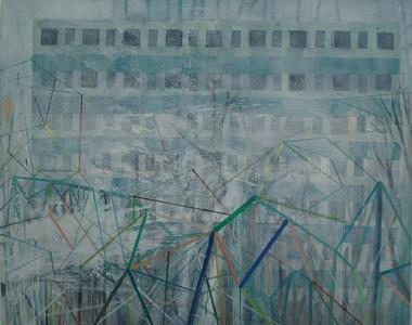 Plattenbau im Nebel, Acryl auf Leinwand, 160 x 200 cm, 2012