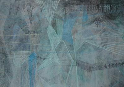 Feld und Gebäude neblig, Mischtechnik auf Papier, 21 x 29,7 cm, 2012