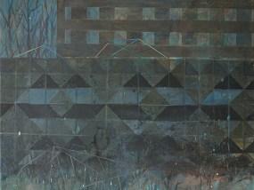 'Plattenbau und Betonstrukturwand (ungetypt)', Acryl auf Leinwand, 80 x 100 cm, 2014