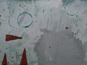 Rosa Busch und drei rote Dreiecke, Öl auf Hartfaser, 20 x 30 cm, 2008
