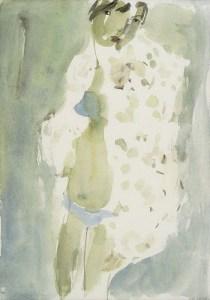 Frau in blauem Bikini, Aquarell, 20 x 30 cm, 2004
