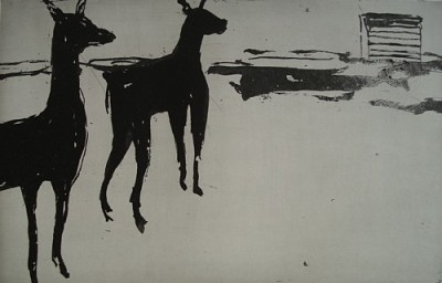 Zwei Tiere und ein Kozolec, Aquatinta, 22,5 x 36 cm, 2005