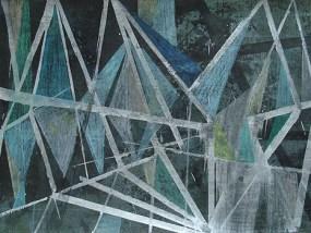 Feld mit Bäumen abends, Mischtechnik auf Papier, 21 x 29,7 cm, 2012