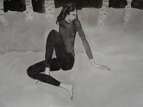 Im Birkenwald, Tusche auf Papier, 21 x 29,7 cm, 2008