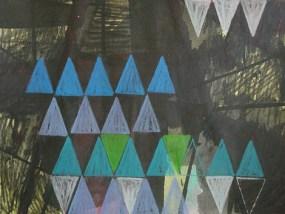 Gewitter und Dreiecke I, Mischtechnik auf Papier, 21 x 29,7
