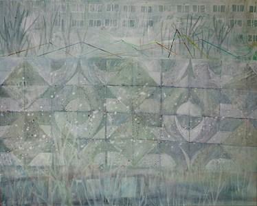 'Plattenbau und Betonstrukturwand mit Schnee (G 7, G2)', Acryl auf Leinwand, 80 x 100 cm, 2015