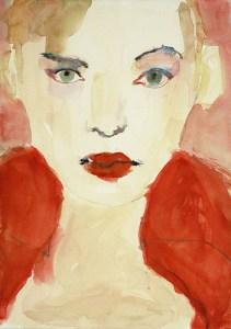 Frau mit rotem Kragen, Aquarell, 29 x 41 cm, 2000