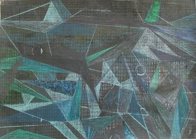Felder nachts, Mischtechnik auf Papier, 21 x 29,7 cm, 2012