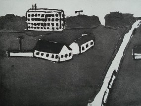 Siedlung, Aquatinta, 14 x 20 cm, 2010