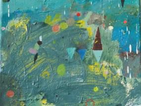 'Am See', sonnig, Öl auf Leinwand, 24 x 30 cm, 2013